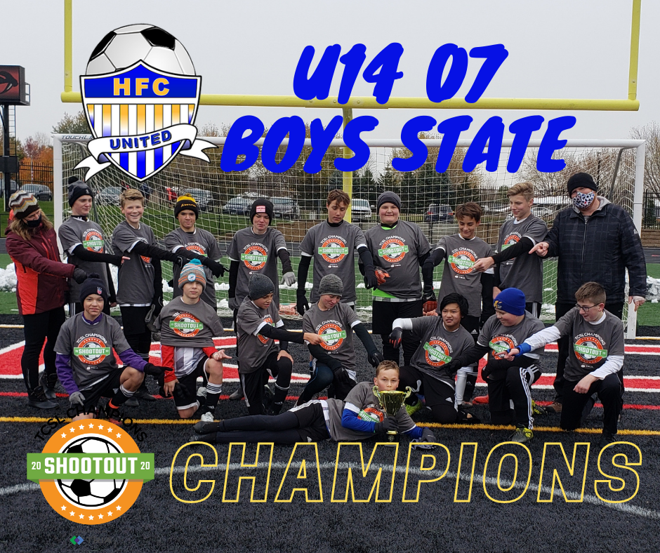HFC U14 07 Boys State Team Are TCSL Shootout Champions