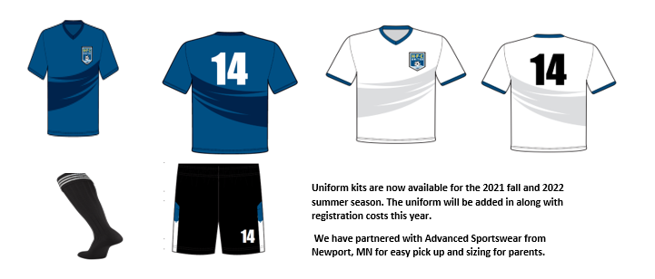 New travel soccer uniforms for the fall 2021 season